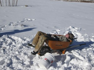 Moving snow is hard work!  Sometimes a break is needed (and a chance to work on your tan?)