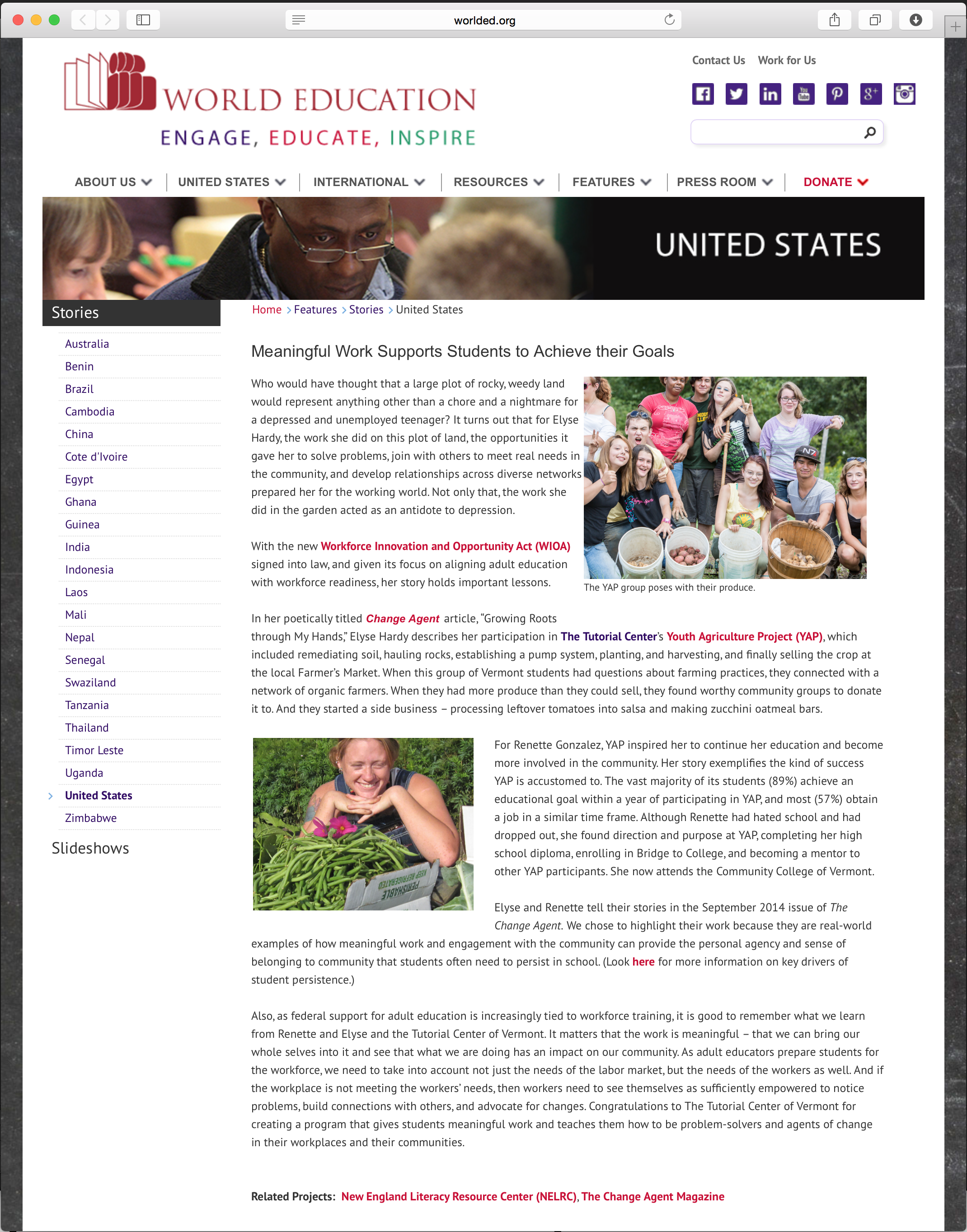 The Tutorial Center's YAP students are highlighted on the World Education Website
