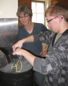Taking the jars out of the canner